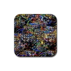 Multi Color Peacock Feathers Rubber Square Coaster (4 Pack)