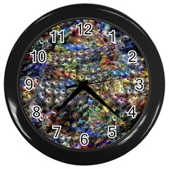 Multi Color Peacock Feathers Wall Clocks (Black)