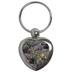 Multi Color Peacock Feathers Key Chains (Heart)