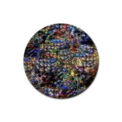 Multi Color Peacock Feathers Rubber Round Coaster (4 Pack)