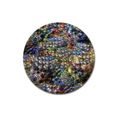 Multi Color Peacock Feathers Magnet 3  (Round)