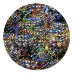 Multi Color Peacock Feathers Magnet 5  (Round)