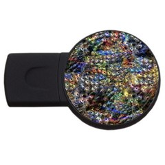 Multi Color Peacock Feathers Usb Flash Drive Round (2 Gb)