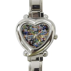 Multi Color Peacock Feathers Heart Italian Charm Watch