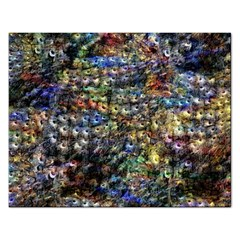 Multi Color Peacock Feathers Rectangular Jigsaw Puzzl