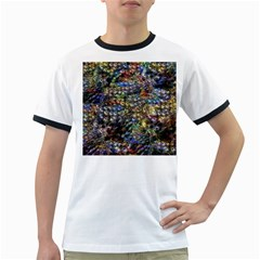 Multi Color Peacock Feathers Ringer T-Shirts