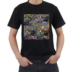 Multi Color Peacock Feathers Men s T Shirt (black) (two Sided)