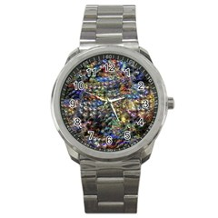 Multi Color Peacock Feathers Sport Metal Watch