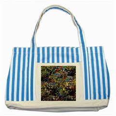 Multi Color Peacock Feathers Striped Blue Tote Bag