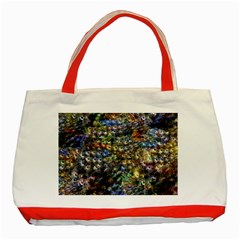 Multi Color Peacock Feathers Classic Tote Bag (red)