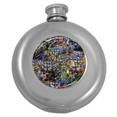 Multi Color Peacock Feathers Round Hip Flask (5 Oz)