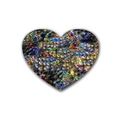 Multi Color Peacock Feathers Rubber Coaster (heart)