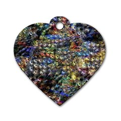 Multi Color Peacock Feathers Dog Tag Heart (two Sides)