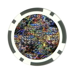 Multi Color Peacock Feathers Poker Chip Card Guard