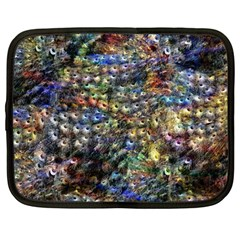Multi Color Peacock Feathers Netbook Case (Large)