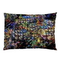 Multi Color Peacock Feathers Pillow Case (two Sides)