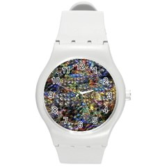 Multi Color Peacock Feathers Round Plastic Sport Watch (M)
