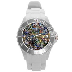 Multi Color Peacock Feathers Round Plastic Sport Watch (L)
