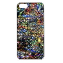 Multi Color Peacock Feathers Apple Seamless iPhone 5 Case (Clear)