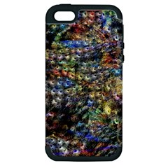 Multi Color Peacock Feathers Apple Iphone 5 Hardshell Case (pc+silicone)