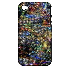 Multi Color Peacock Feathers Apple iPhone 4/4S Hardshell Case (PC+Silicone)