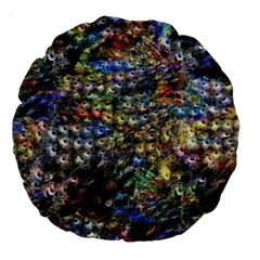 Multi Color Peacock Feathers Large 18  Premium Round Cushions