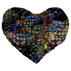 Multi Color Peacock Feathers Large 19  Premium Heart Shape Cushions