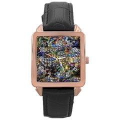 Multi Color Peacock Feathers Rose Gold Leather Watch