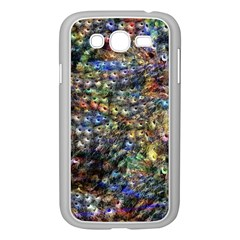 Multi Color Peacock Feathers Samsung Galaxy Grand DUOS I9082 Case (White)