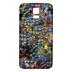 Multi Color Peacock Feathers Samsung Galaxy S5 Back Case (White)