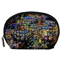 Multi Color Peacock Feathers Accessory Pouches (Large)