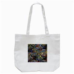 Multi Color Peacock Feathers Tote Bag (White)