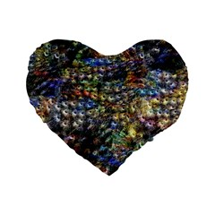 Multi Color Peacock Feathers Standard 16  Premium Flano Heart Shape Cushions