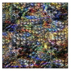 Multi Color Peacock Feathers Large Satin Scarf (Square)