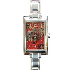 Red Gold Black Background Rectangle Italian Charm Watch