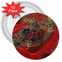 Red Gold Black Background 3  Buttons (10 Pack)