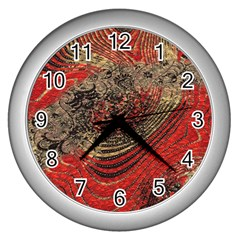 Red Gold Black Background Wall Clocks (silver)