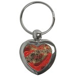 Red Gold Black Background Key Chains (Heart)  Front