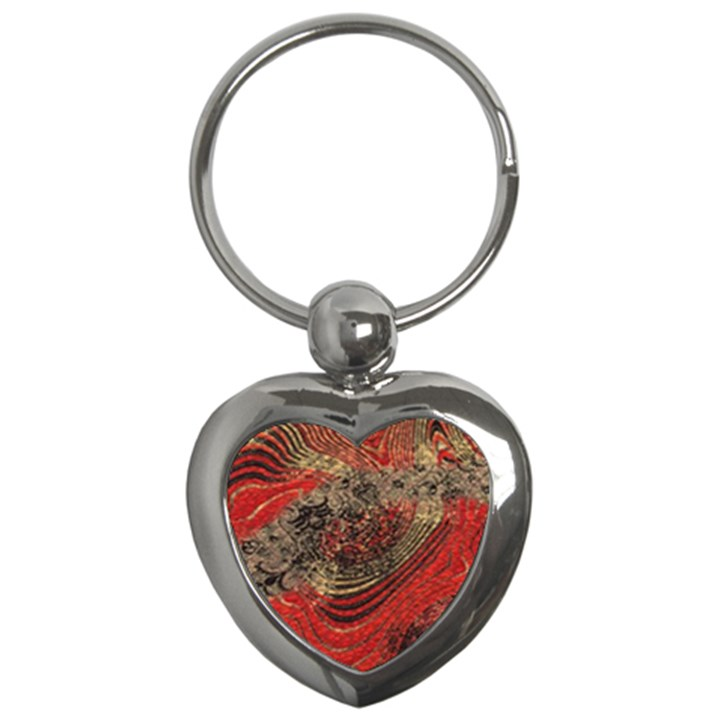Red Gold Black Background Key Chains (Heart)