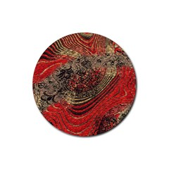 Red Gold Black Background Rubber Coaster (Round)