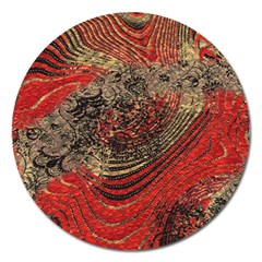 Red Gold Black Background Magnet 5  (Round)