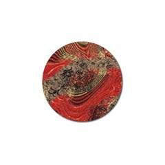 Red Gold Black Background Golf Ball Marker