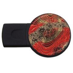 Red Gold Black Background USB Flash Drive Round (1 GB)