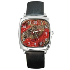 Red Gold Black Background Square Metal Watch