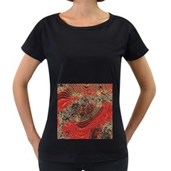 Red Gold Black Background Women s Loose Fit T Shirt (black)