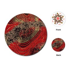 Red Gold Black Background Playing Cards (Round)