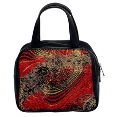 Red Gold Black Background Classic Handbags (2 Sides)