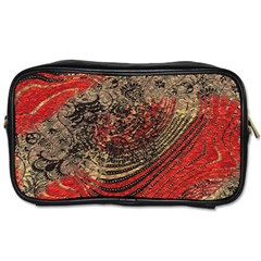 Red Gold Black Background Toiletries Bags 2 Side