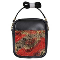 Red Gold Black Background Girls Sling Bags