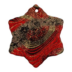 Red Gold Black Background Ornament (snowflake)